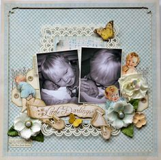 "Probably my favorite baby layout ever using Graphic 45's ""Little Darlings"" line. By the talented Karen Shady ..."