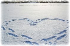 footsteps of a heart in snow