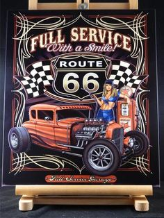 Full Service Texaco Route 66 Hot Rod Layered 3D Metal Wall Art Made in USA | eBay