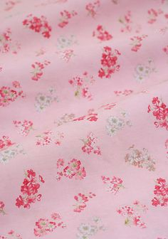 SALE  Pink floral cotton fabric  red flowers on by TheFabricHippie, $4.50