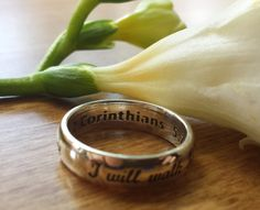 Bible quote ring Corinthians 925 sterling by HeartsOrSpades $55