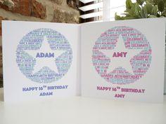 Personalised 16th Birthday Card (Girls), Personalised Card, Personalised Word Art Card,  Personalised Birthday Card, 16th birthday card by ConnorCardsandGifts on Etsy https://www.etsy.com/uk/listing/533394230/personalised-16th-birthday-card-girls