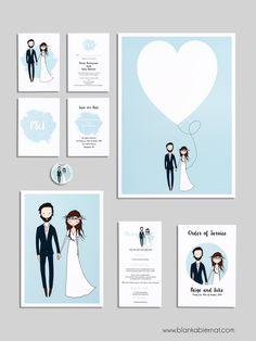 Custom portraits by Blanka Biernat wedding stationery