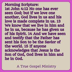 Morning Scripture: 1st John 4:12 No one has ever seen God; but if we love one another, God lives in us and his love is made complete in us. .. the Father has sent his Son to be the Savior of the world... #christmas #savior #morningscripture #scripturequote #biblequote #instabible #instaquote #quote #seekgod #godsword #godislove #gospel #jesus #jesussaves #teamjesus #LHBK #youthministry #preach #testify #pray #rollin4Christ #atruegospelministry