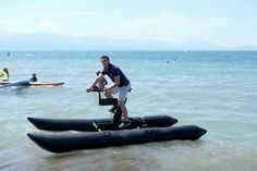 Visit Lake Geneva through one of its most innovative sports to date - Waterbiking! Great fun for the whole family!