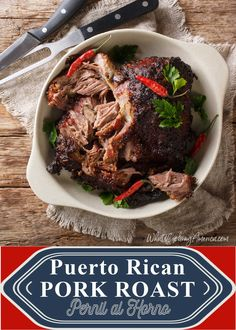 Puerto Rican pork roast known as Pernil al Horno makes a wonderful main course for special occasions! Roasted Pork Shoulder Recipes, Pork Shoulder Roast, Holiday Meals, Holiday Recipes, Main Dishes, Side Dishes, Puerto Rican Dishes, Pork Roast Recipes, Puerto Ricans