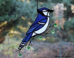 Blue Jay Glass Suncatcher by connysstainedglass on Etsy