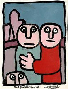 Une famille heureuse / Années 70 par SANFOURCHE Jean-Joseph * Cliquer pour voir l'image en grand