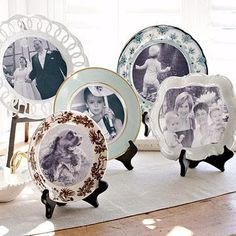 These copies of treasured photos were attached to decorative plates that act as frames