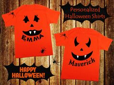 Personalized Halloween Jack-O-Lantern Shirt Kids by AppleCopter
