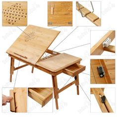 Natural Bamboo Foldable Laptop Table, Folding Bed Table, + A placemat Free! Wood Pallet Furniture, Furniture Plans, Diy Furniture, Furniture Design, Furniture Stores, Drawing Furniture, Drawing Desk, Wood Drafting Table, Portable Drafting Table