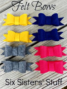Felt Bow Hairbow Tutorial (and free printable template)   Six Sisters' Stuff - Great step by step picture tutorial. So easy to follow.