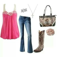 Pink & brown country outfit