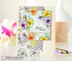 Hello Spring #handmade card by Tatiana Trafimovich #tatianacraftandart - Flower Garden Stamp set by Newton's Nook Designs #newtonsnook