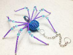 Zara  aqua and purple glass beaded spider goth sun by llanywynns, $17.00