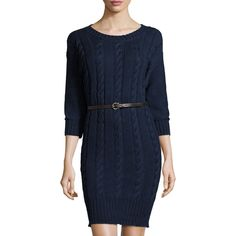 Three Dots Reese Cable-Knit Belted Sweater Dress ($219) ❤ liked on Polyvore featuring dresses, indigo, indigo blue dress, 3/4 sleeve sheath dress, blue dress, 3/4 sleeve dress and straight dress