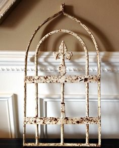 Vintage RUSTIC French Fleur di Lis Cast Wrought Iron Grate Architectural SALVAGE Garden Gate Wall ART Chippy Fireplace  Mantel Decor