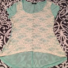 Lace front long back top Beige lace front top with drop back cute . Mark down from $15 to $11 Tops Blouses