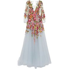 Marchesa Embroidered V-Neck Gown ($12,995) ❤ liked on Polyvore featuring dresses, gowns, marchesa, blue, blue gown, v-neck dresses, a line gown, blue a line dress and blue evening gown