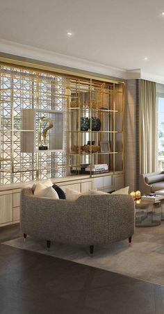 living room joinery | shelving | metalwork | brass
