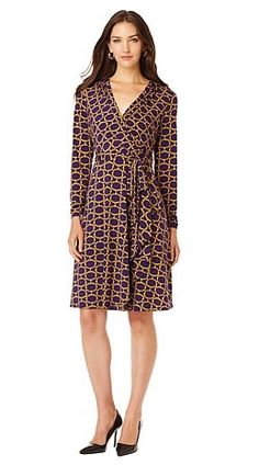 A wrap dress is an easy-to-wear fall essential! Wear with a simple cardigan during the day, or add tights and a light jacket for a night out. Which color combo are you loving -- the black, gold or purple medallion?