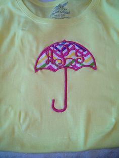 Umbrella appliqué with initials.