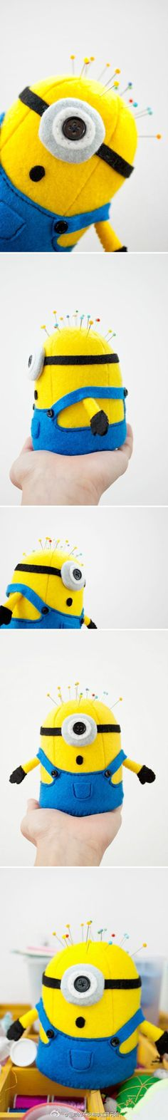 Minion pincushion! @Katie Hrubec Hrubec Hrubec Lee  ... oh lord do I COVET this!!!