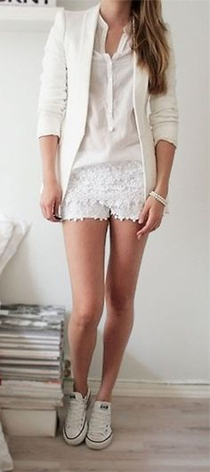 All white outfit with lacy shorts