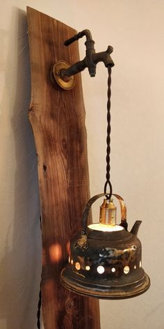 Rustic Wall Lighting, Rustic Lamps, Wood Lamps, Farmhouse Lighting, Wooden Plane, Old Stove, Wall Accessories, Steampunk Lamp, Dining Room Walls