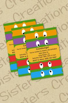 Ninja Turtle Invitation DIGITAL by SistersCreationsLB on Etsy, $10.00