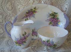 Royal Albert Blossom Time Series Lilac Cream Sugar Tray Set