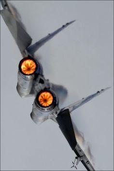 MiG-29 afterburners lit