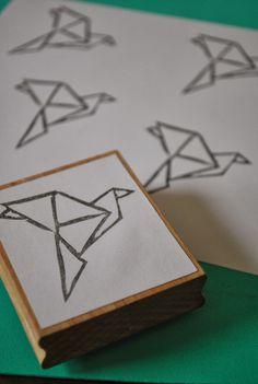 Origami bird stamp by NelleKus
