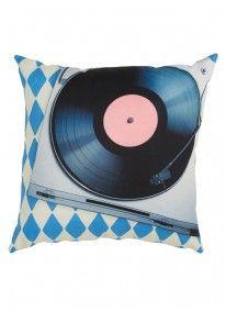 Nostalgic Record Player Scatter Cushion Multi-colour