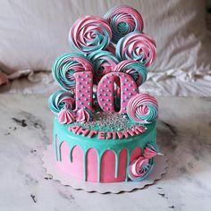 Baby Cakes, Dog Cakes, Girl Cakes, Sweet Cakes, Cupcake Cakes, Cupcakes, 10th Birthday Cakes For Girls, 10 Birthday Cake, Aqua Cake
