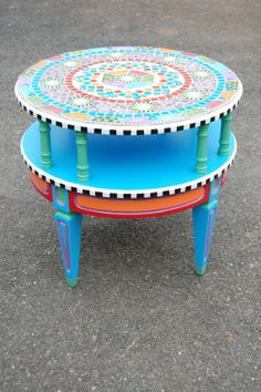 Funky Colorful Mosaic Table by TheCottageDecorator on Etsy, $550.00