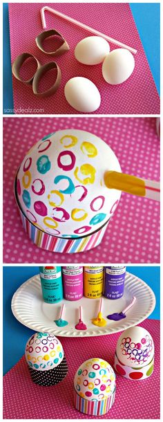 Easter Egg Decorating using a straw Easter craft for kids