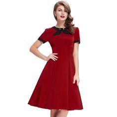 Kurzarm Vintage Kleid in Rot
