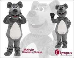 The adorable mouse mascot costume for Renard's Cheese. www.olympus-mascots.com