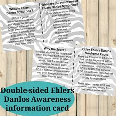 Ehlers Danlos Syndrome EDS Awareness Cards Chronic Fatigue, Chronic Illness, Chronic Pain, Fibromyalgia, Chronic Migraines, Elhers Danlos Syndrome, Hypermobility, Muscle Spasms, Massage Techniques