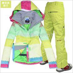 2014 hot womens ski suit ladies snowboard suit bright color zone jacket +  rose red pants snow wear skiwear waterproof XS-L cf96584b0