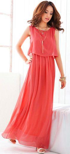 2df2b34697b Elegant Sleeveless Maxi Dress With Chiffon Overlay - OASAP.com