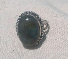 Large Oval Cut LABRADORITE Gemstone Ring by CherylsStixAndStonz, $16.00