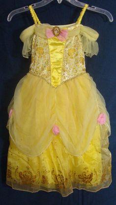 Disney Store Belle Costume Dress Fancy Gold Sparkle Princess Gown Girl Small 5/6 #DisneyStore #Dress