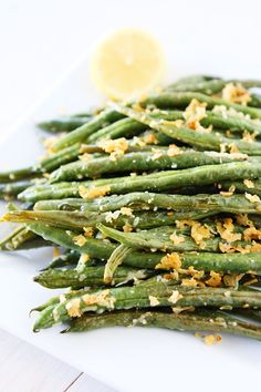 Lemon Parmesan Roasted Green Beans Recipe on twopeasandtheirpod.com Perfect side dish to any meal!