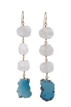 Moonstone & Turquoise Slice Earrings