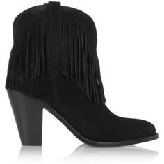 Saint Laurent New Western fringed suede ankle boots (1,165 CAD) ❤ liked on Polyvore featuring shoes, boots, ankle booties, black, black suede bootie, fringe cowboy boots, ankle boots, black ankle boots and high heel ankle boots