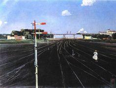 Г.Г. Нисский. На путях. Май. 1933. Х.М. 51х70. Волгоградский музей изобразительных искусств.