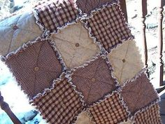 Material Needed for Rag Quilt | Homespun Country Red Table Rag Quilt Runner w/Buttons For Sale