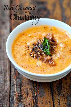 Red Coconut Chutney for Idli, Dosa (Kerala-Style Chutney Recipe)